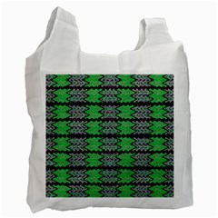 Pattern Tile Green Purple Recycle Bag (two Side)  by BrightVibesDesign