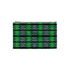 Pattern Tile Green Purple Cosmetic Bag (small)  by BrightVibesDesign