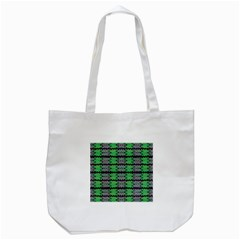 Pattern Tile Green Purple Tote Bag (white) by BrightVibesDesign