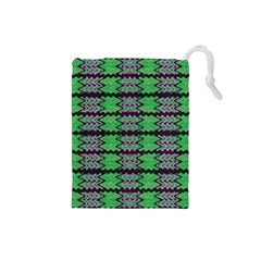 Pattern Tile Green Purple Drawstring Pouches (small)  by BrightVibesDesign
