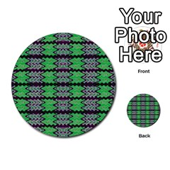 Pattern Tile Green Purple Multi Purpose Cards (round)  by BrightVibesDesign