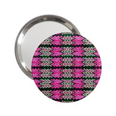 Pattern Tile Pink Green White 2.25  Handbag Mirrors by BrightVibesDesign