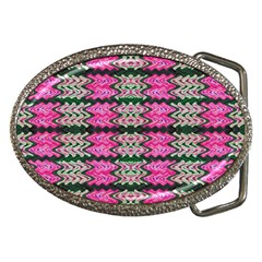 Pattern Tile Pink Green White Belt Buckles by BrightVibesDesign