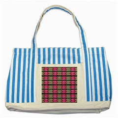 Pattern Tile Pink Green White Striped Blue Tote Bag by BrightVibesDesign