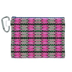 Pattern Tile Pink Green White Canvas Cosmetic Bag (xl) by BrightVibesDesign