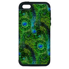 Emerald Boho Abstract Apple Iphone 5 Hardshell Case (pc+silicone) by KirstenStar