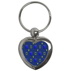 3d Rectangles                                                                      key Chain (heart) by LalyLauraFLM
