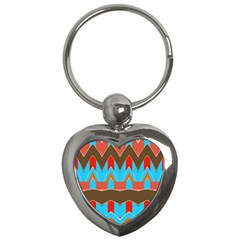 Blue Brown Chevrons                                                                       			key Chain (heart) by LalyLauraFLM
