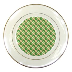 Crisscross Pastel Green Beige Porcelain Plates by BrightVibesDesign