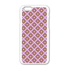 Crisscross Pastel Pink Yellow Apple iPhone 6/6S White Enamel Case by BrightVibesDesign