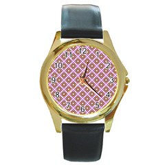 Crisscross Pastel Pink Yellow Round Gold Metal Watch by BrightVibesDesign