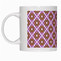 Crisscross Pastel Pink Yellow White Mugs by BrightVibesDesign