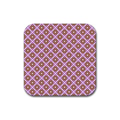 Crisscross Pastel Pink Yellow Rubber Square Coaster (4 Pack)  by BrightVibesDesign