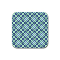 Crisscross Pastel Turquoise Blue Rubber Coaster (Square)  by BrightVibesDesign