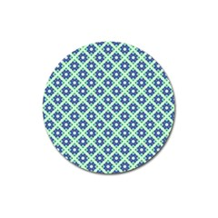 Crisscross Pastel Turquoise Blue Magnet 3  (Round) by BrightVibesDesign