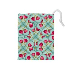 Love Motif Pattern Print Drawstring Pouches (medium)  by dflcprints