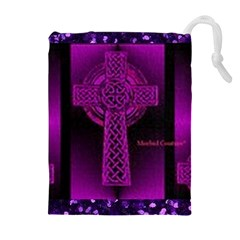 Purple Celtic Cross Drawstring Pouches (extra Large) by morbidcouture