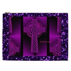 Purple Celtic Cross Cosmetic Bag (xxl)  by morbidcouture