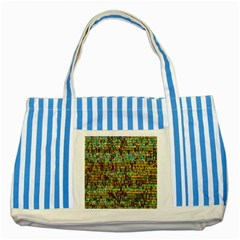 Multicolored Digital Grunge Print Striped Blue Tote Bag by dflcprints