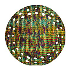 Multicolored Digital Grunge Print Ornament (round Filigree)  by dflcprints