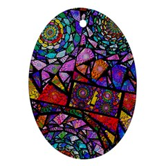 Fractal Stained Glass Oval Ornament (two Sides) by WolfepawFractals