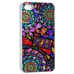 Fractal Stained Glass Apple Iphone 4/4s Seamless Case (white) by WolfepawFractals