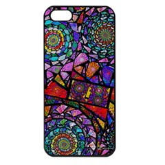 Fractal Stained Glass Apple Iphone 5 Seamless Case (black) by WolfepawFractals
