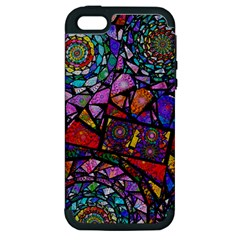 Fractal Stained Glass Apple Iphone 5 Hardshell Case (pc+silicone) by WolfepawFractals