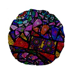 Fractal Stained Glass Standard 15  Premium Round Cushions by WolfepawFractals