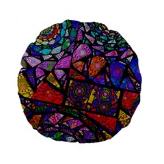 Fractal Stained Glass Standard 15  Premium Flano Round Cushions by WolfepawFractals