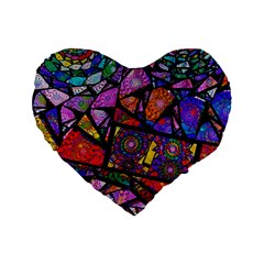 Fractal Stained Glass Standard 16  Premium Flano Heart Shape Cushions by WolfepawFractals