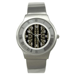 Vertical Stripes Tribal Print Stainless Steel Watch by dflcprints