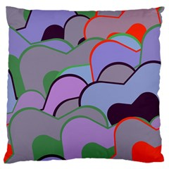 Wavy Shapes Pieces                                                                          	large Flano Cushion Case (two Sides) by LalyLauraFLM