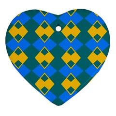 Blue Yellow Rhombus Pattern                                                                           ornament (heart) by LalyLauraFLM