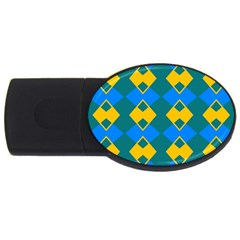 Blue Yellow Rhombus Pattern                                                                           			usb Flash Drive Oval (2 Gb) by LalyLauraFLM