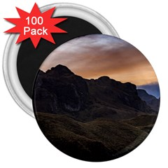 Sunset Scane At Cajas National Park In Cuenca Ecuador 3  Magnets (100 Pack) by dflcprints