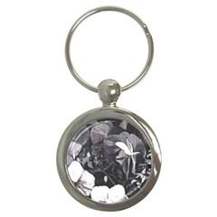 Bbwwhtlmultiorchidpillowcasestripeorchid Key Chain (round) by lynngrayson