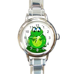 Green Frog Round Italian Charm Watch by Valentinaart