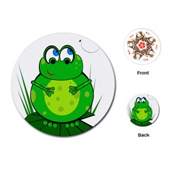 Green Frog Playing Cards (Round)  by Valentinaart