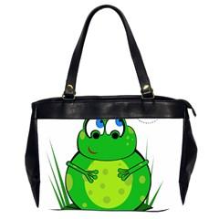 Green Frog Office Handbags (2 Sides)  by Valentinaart