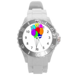 Colorful Balloons Round Plastic Sport Watch (l) by Valentinaart