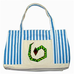 Decorative Snake Striped Blue Tote Bag by Valentinaart