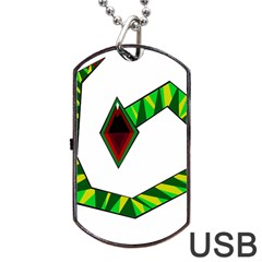 Decorative Snake Dog Tag Usb Flash (two Sides)  by Valentinaart