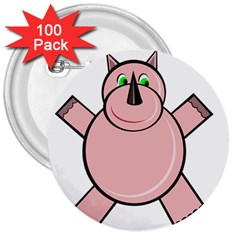 Pink Rhino 3  Buttons (100 Pack)  by Valentinaart
