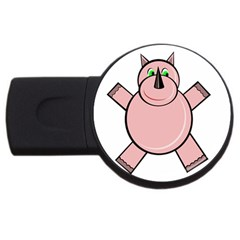 Pink Rhino Usb Flash Drive Round (4 Gb)  by Valentinaart