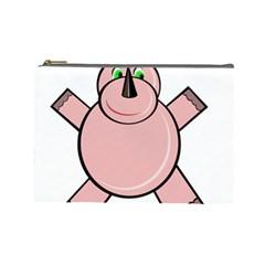 Pink Rhino Cosmetic Bag (large)  by Valentinaart