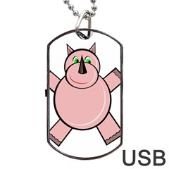 Pink Rhino Dog Tag Usb Flash (two Sides)  by Valentinaart