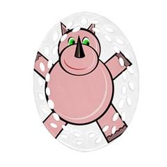 Pink Rhino Oval Filigree Ornament (2 Side)  by Valentinaart