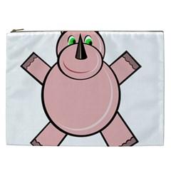 Pink Rhino Cosmetic Bag (xxl)  by Valentinaart