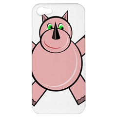 Pink Rhino Apple Iphone 5 Hardshell Case by Valentinaart